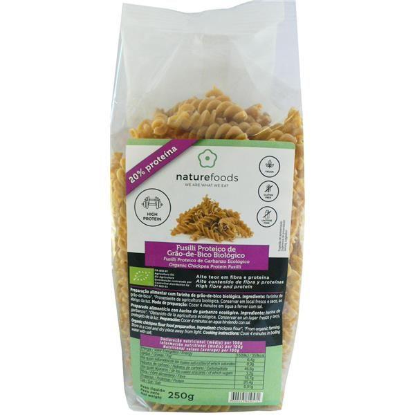 Fusilli Proteico de garbanzos bio - Naturefoods (250g) 1