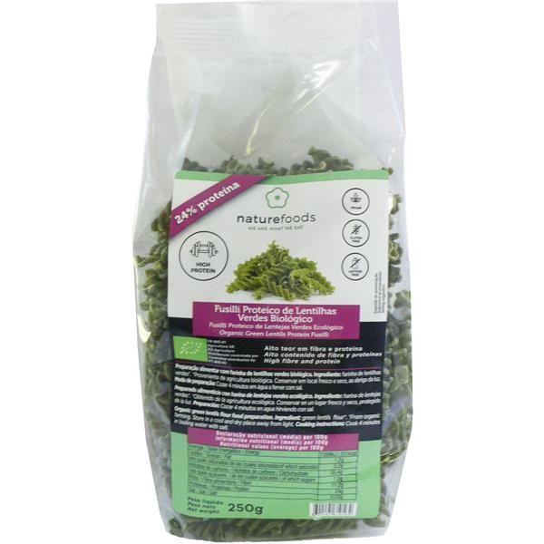 Fusilli proteico de lentejas verdes bio - Naturefoods (250g) 1