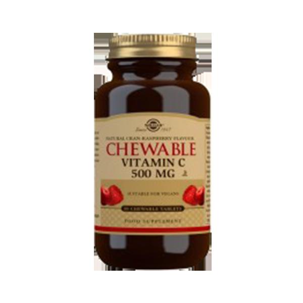 Vitamina C com Sabor a Arando Vermelho e Framboesa - Solgar (90 comprimidos) 1